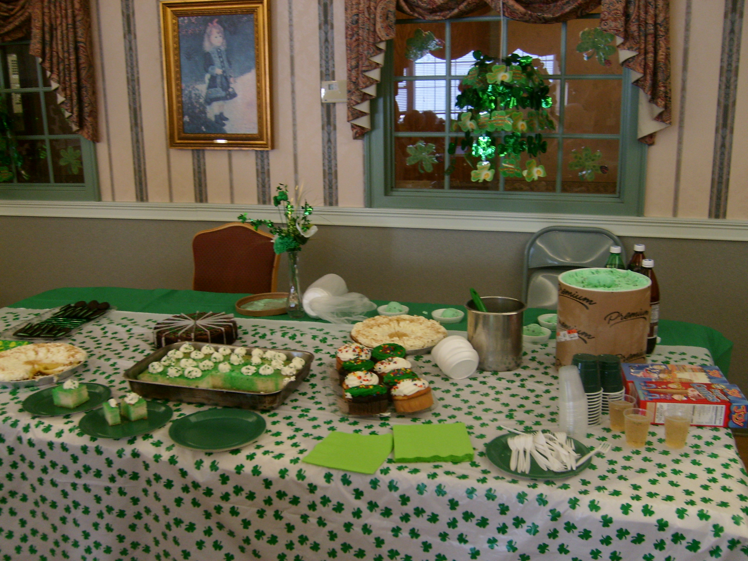 Table all set for St. Paddy's social